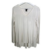 White House Black Market Womens V Neck Long Sleeve Top Blouse Pleats Size Small