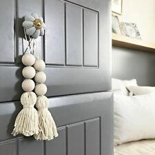 Nordic Style Cotton Rope Fringed Wood Beads Closet Door Handle Decoration FI