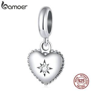 BAMOER European 925 Sterling Silver DIY Charms CZ Starburst love For Bracelets