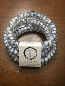 Brand New Teleties 3 Pack Small Hair Ties Breezy Blue Ponytail Holder Bracelets