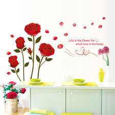 Large Red Rose Flower Wall Sticker Mural Decal Home Room DIY Wall Decor Top