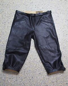 schwarze Glattleder Kniebundhose mit Gürtel feines Natur Leder glänzend 802