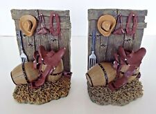 Western Bookends Pair Horse Saddle Cowboy Hat Rope Barrells Southwest Decor