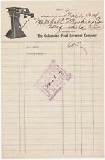 1924 Invoice From  The Columbian Feed Governor Co. in Minneapolis, Minnesota