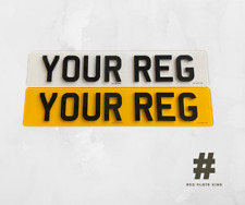 4D Reg Number plates, Pair Of Road Legal 4D 3D Laser Cut Raised Gloss Black