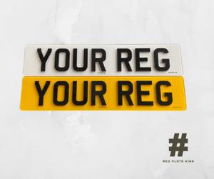 4D Reg Number plates, Pair Of Road Legal 4D 3D Laser Cut Raised Gloss Black