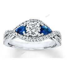 Diamond Blue Sapphire White Gold Love Engagement Wedding Ring 1.50 Carat