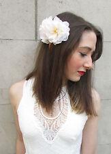 Doble Blanco Flor Peineta rosa silvestre Botones Crema Vintage Dama De Honor