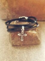 handmade silver cross black leather adjustable wrap bracelet