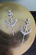 Anchor Wall Hook White Distressed Wall Mounted Rope Nautical Navy Set of Two