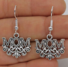 Cute New Tibetan Silver MOM Swirl Charm Dangle Drop Earrings