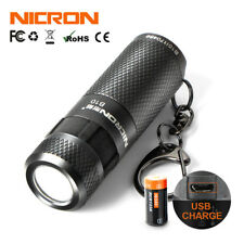 Worlds Smallest Torch USB Rechargeable Nicron B10 Flashlight Cree LED Aluminium