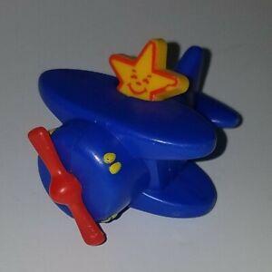 "VTG Carl's Jr Happy Star Blue Airplane 1.75"" Toddler Toy Wheels Rolling"