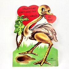 Vtg 40s 50s Valentines Card Ephemera Greeting Ostrich Hide Head in the Ground Us