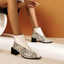 Womens Sexy Ankle Boots Square Toe Mid Chunky Heel Splice Print Warm Shoes Party