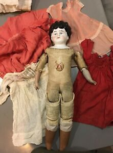 "Antique German turned head 18"" doll and 6 dresses Kestner body"