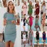 Women Short Sleeve Mini Dress Casual Long Tops Blouse Slim T Shirt Sundress US