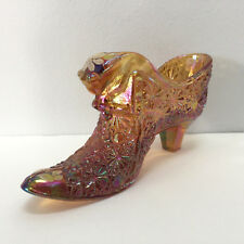 Fenton Glass Amber Iridescent Daisy Button Cat Head Boot Shoe Slipper
