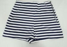 Zara Basic high waist navy blue white striped shorts womens XS W23 sailor pinup
