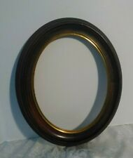 """Antique Victorian Oval Wood Frame 8""""x 10"""" opening at rear, brass inner liner"""