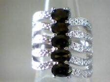 AUGUST BIRTHSTONE!!!  Stacked Look Olive Peridot with Accents in .925 Size 9