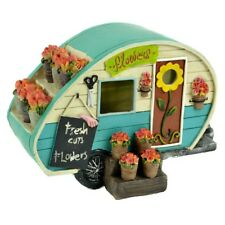 Turquoise Camper with Flowers MI 56163 Miniature Fairy Garden