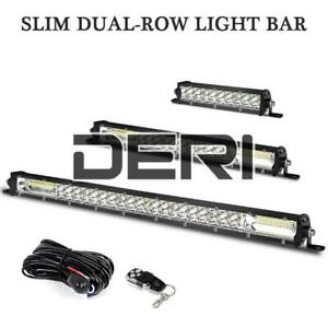 "20"" 13"" 7"" Slim Dual Row LED Work Light Bar Spot Flood Combo Off-Road Wiring Kit"