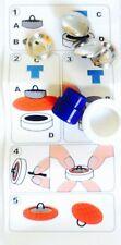 6 Überziehbare Knöpfe 15 mm mit Werkzeug silber