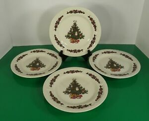 Stoneware Christmas Tree Salad Plate (s) LOT OF 4 with Santa Toys and Cherubs