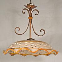 SOSPENSIONE LAMPADA CON CERAMICA DECORATA LAMPADARIO DA SOFFITTO ART.840 RUSTICO