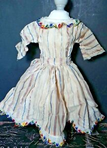 CHARMING!  Dress and Flowing SKIRT Embroidered TRIM 1950s for HARD PLASTIC DOLLS