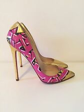 Christian Louboutin Pigalle Graffiti Print Gold Leather EU 39 Limited Edition