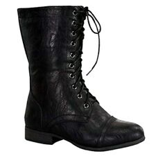 Top Moda Smart-2 Women's Mid Calf Military Lace up Combat Boot  8.5 B(M) U.S