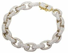 Men's Gold Finish Over Brass Simulated Diamond 11MM Iced Puff Link Bracelet 9""