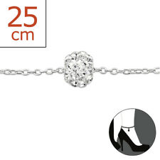 Ball 22cm Expandable to 25cm Cute Design Tjs 925 Sterling Silver Anklet Clear Cz