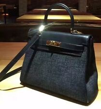 BLACK KELLY INSPIRED 28CM LINEN AND COW LEATHER HANDBAG TOTE PURSE
