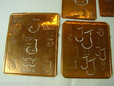 6 x JJ Merkenthaler Monogramme, Kupfer Schablonen, Stencils, Patrons broder