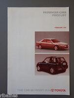 R&L Sales Brochure: Toyota Range UK 1997 Price List Hilux/Rav4/Celica/MR2
