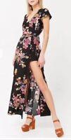 Forever 21 Floral Maxi Dress Skort Romper Bodysuit Open Front Black S NEW