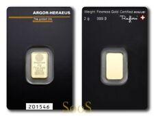 2g Argor Heraeus Goldbarren 2 Gramm 9999 Feingold Gold Barren mit Zertifikat