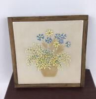 Vintage Wood Framed ITALY Ceramic Square Tile HotPlate/Trivet. Lovely  Floral .