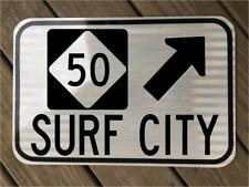 "SURF CITY NC HWY 50 road sign 12""x18"" - DOT style - Topsail Island Beach ocean"
