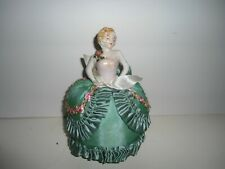 VINTAGE - PIN CUSHION HALF DOLL PORCELAIN LADY - BEAUTIFUL GOWN!