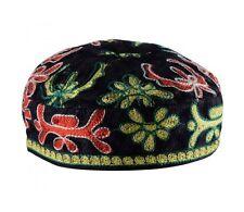 "Black Bucharian Hand Embroidered Kippah - 52cm / 20.4"""