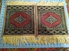 "2 Mini Small Turkish Oriental Fringe Wool Rug 15"" X 12"" Placemats Centerpiece"