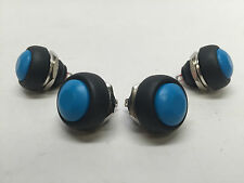 4 PCS MARINE BOAT CAR 12MM MINI ROUND BLUE PUSH BUTTON SWITCH MOMENTARY ON-OFF