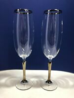 Tall Crystal Champagne Flutes with Tulip Stems Trimmed in Gold - Set of Two (2)