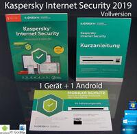 Kaspersky Internet Security 2019 Vollversion Box 1 Gerät PC/Mac+1Android OVP NEU