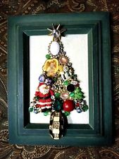 Jewelry Art Christmas Tree, in a Green Estate Frame, signed by Artist