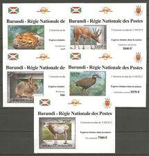 Tiere, Animals - Burundi - 2585-2589 5 Bl. ** MNH 2012